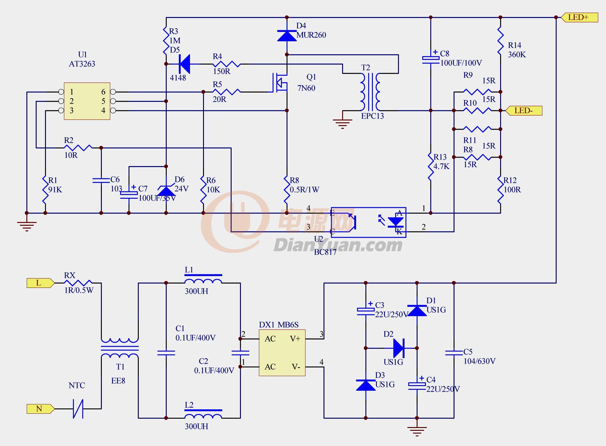 t8-20w led灯管电路图