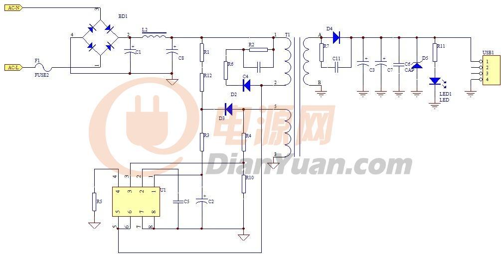 此线路是采用目前兼容很多国内品牌IC的回路,如:OB2535、CR6235. 1. RCD吸收回路,即:R2,C4,D2,R6 PSR线路设计需特别注意以下几处: 2. Vcc 供电和电压检测回路,即:D3,R3,R4,R10,C2 3. 输出回路,即:C3,C7,D5,R11,LED1 下面分别说明以上几点需注意的地方: 1. RCD吸收回路,即:R2,C4,D2,R6 大家可以看出,此RCD回路比普通的PWM回路的RCD多了一个R6电阻,或许有人会忽略他的作用,但实际它对产品的稳定性起着很大的作用