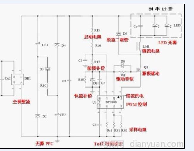 我按bp2808的接线图做了个调试,17串10并的,电流280ma,不过mos管发热