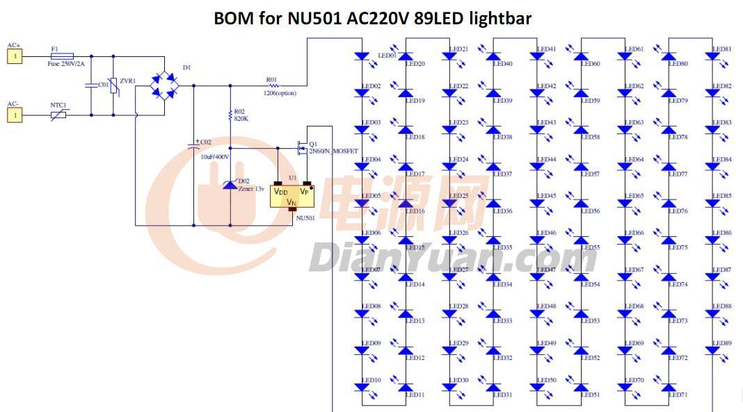 球泡灯,蜡烛灯方案(样   nu501在日光灯上单路与多路的典型应用线路图