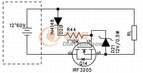 求个12v充电器mos反接保护电路