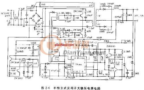 基于TL494的半桥式开关稳压电源电路图:-谁有TL494普通半桥做的5V图片